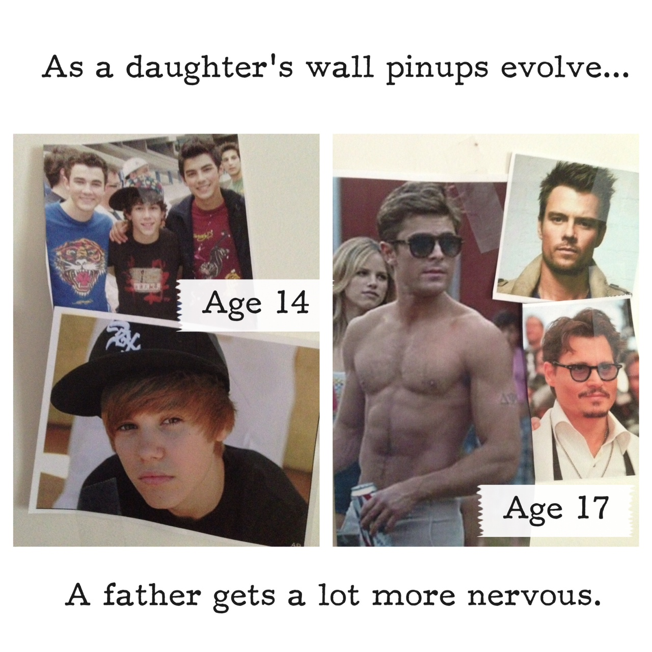 A daughter's wall posters evolve from boy musicians to beefcake.