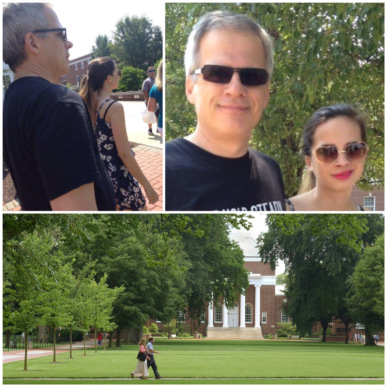 Father and daughter touring college campuses