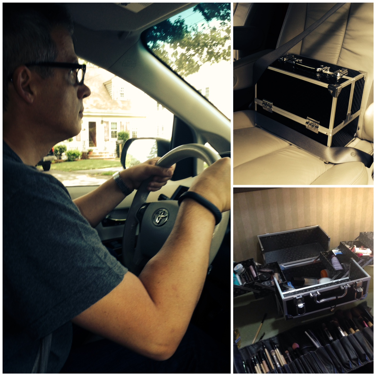 Dad has to be careful driving to protect daughter's make-up kit