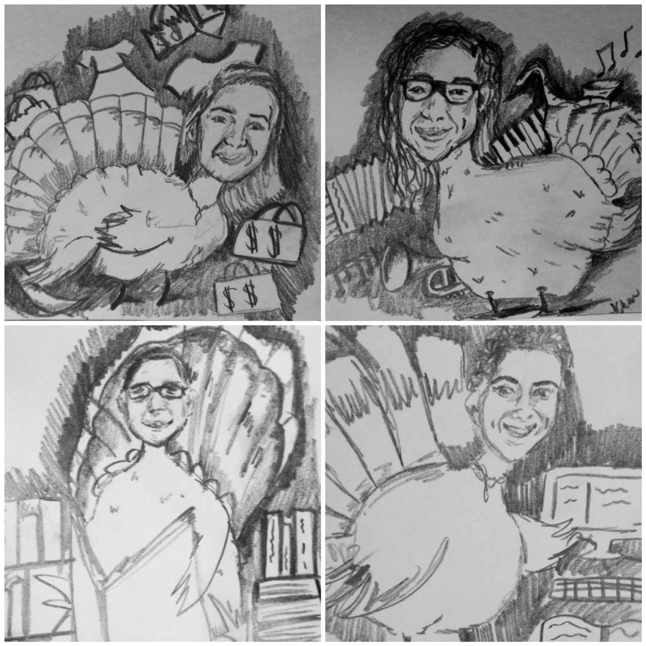 Family as turkeys, caricature illustration