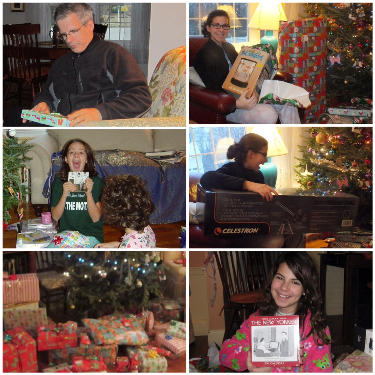 Collage of family opening presents.