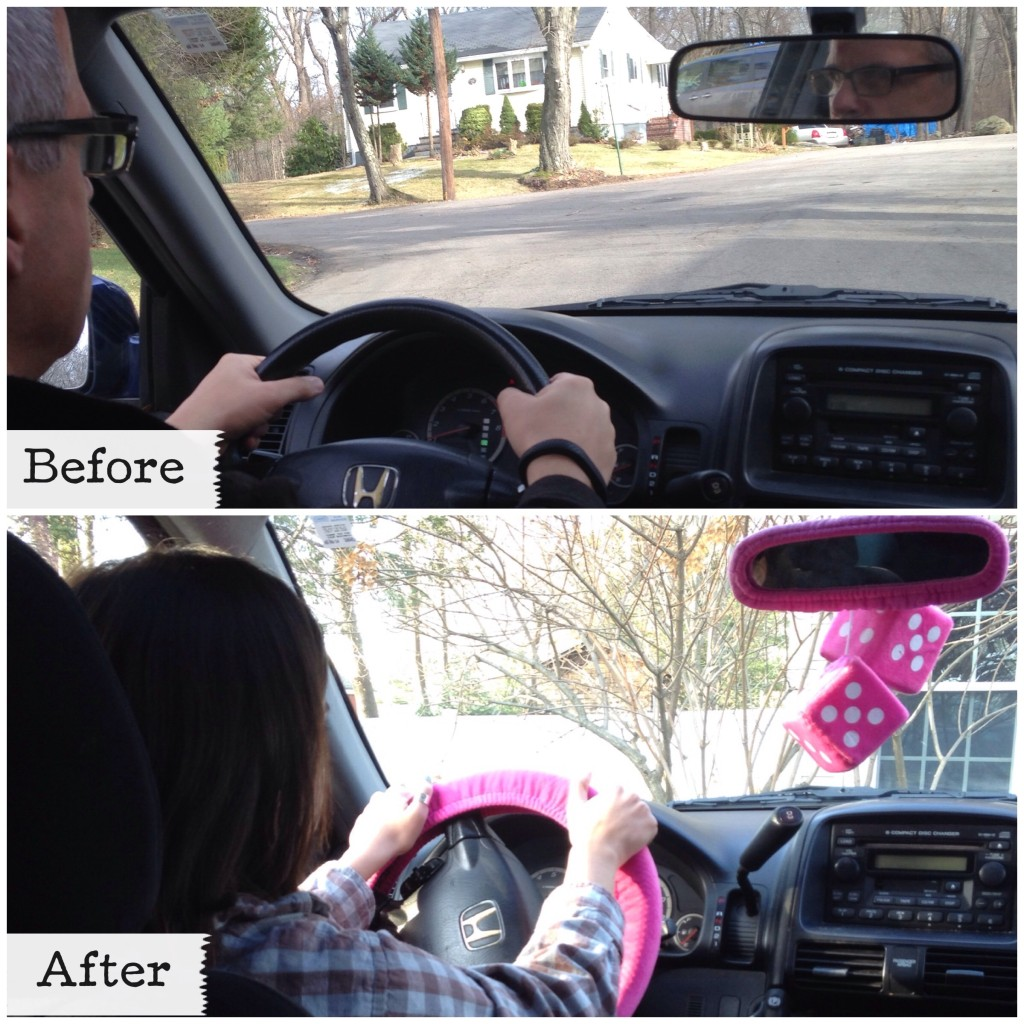 Daughter decorated her dad's car in pink.